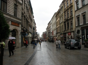The cobblestoned streets of Krakow