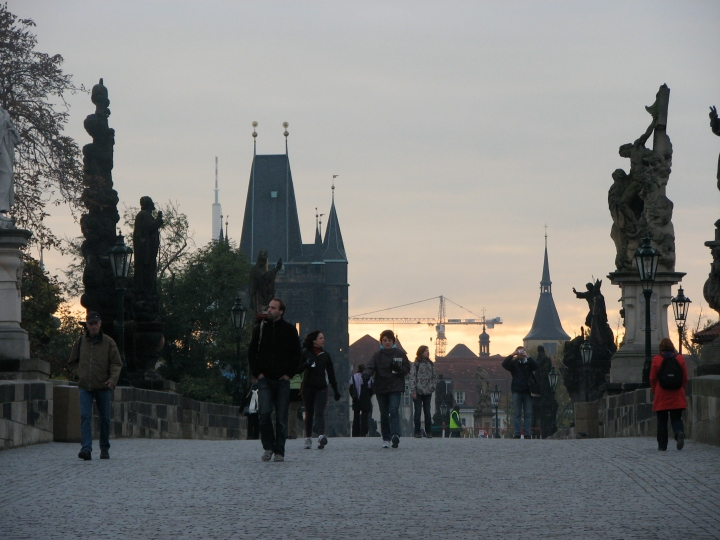 A rare moment of peace on Charles Bridge in the early morning.