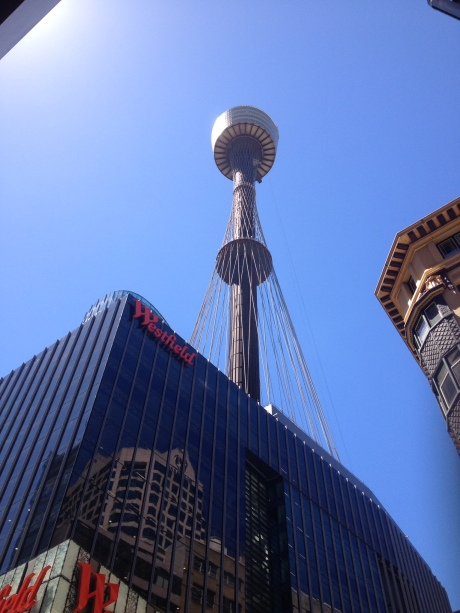 Sydney Tower rising above Westfield