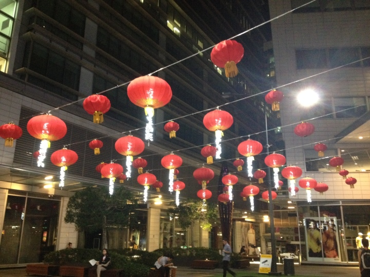 Chinese Lanterns strung across the central courtyard of World Square