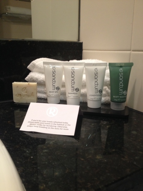 Bathroom products at the hotel